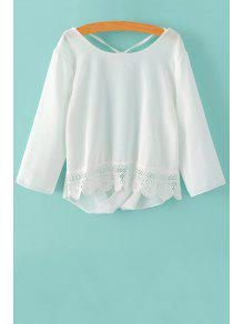 Back Cut Out 3/4 Sleeve Lace Spliced Blouse - White S