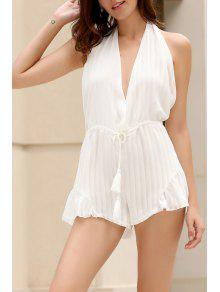 White Halter Backless Romper - White Xl