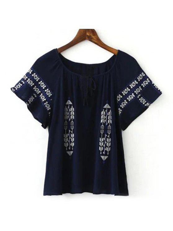 Ethnische Art Short Sleeve Stickerei verschönert Damen Bluse - Cadetblue L