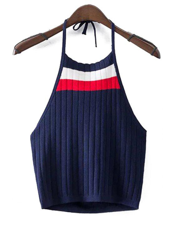 latest Halter Sleeveless Fitted Color Block Crop Top - CADETBLUE S