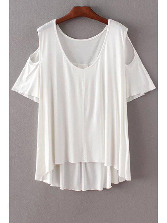 Color sólido con cuello redondo de manga corta con hombros de la camiseta - Blanco L