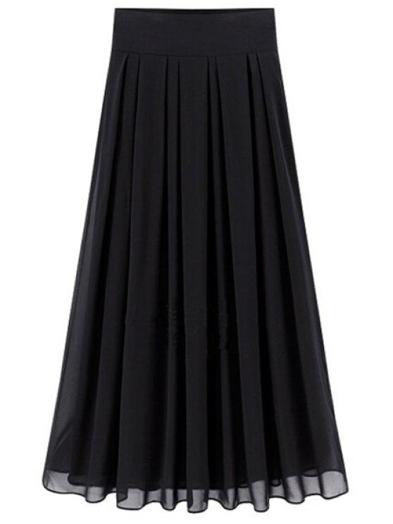 b79b66891a 25% OFF] 2019 Flared Solid Color Chiffon Skirt In BLACK | ZAFUL