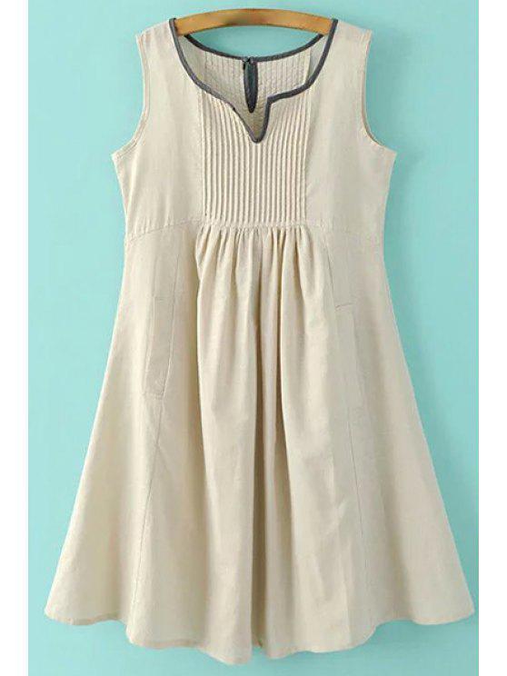 Bolsillos mangas vestido del cuello con muesca - Albaricoque S