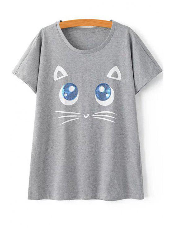 Patrón gatito de manga corta de la camiseta - Gris M