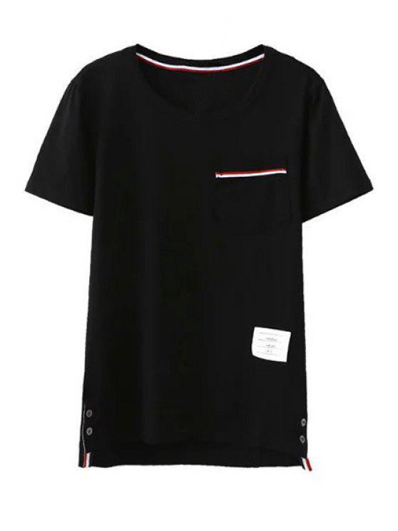 Montaje del bolsillo de cuello redondo manga corta de la camiseta - Negro M