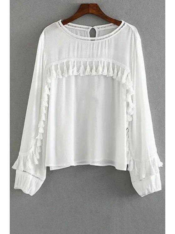 buy Tassels Spliced Round Collar Long Sleeve Blouse - WHITE S