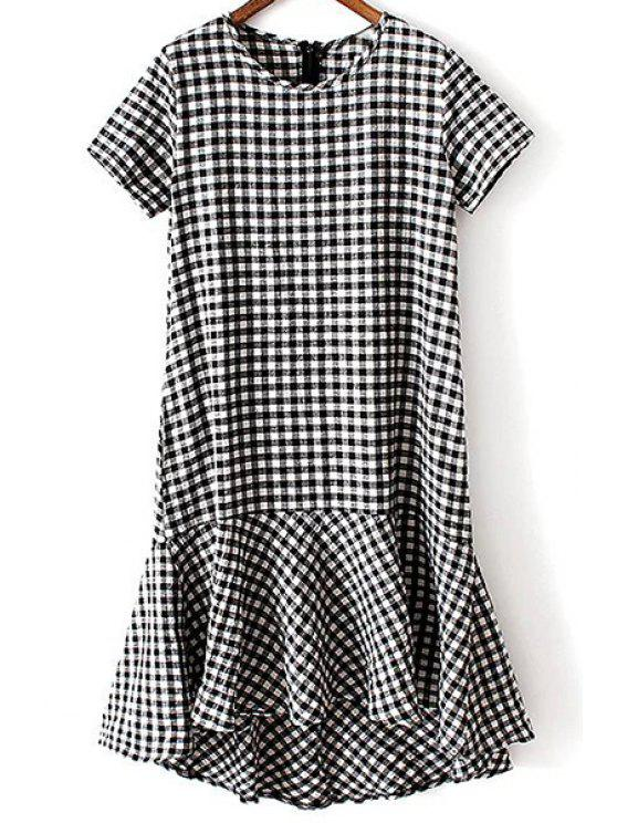 outfit Checked Round Neck Short Sleeve Flounce Dress - CHECKED S
