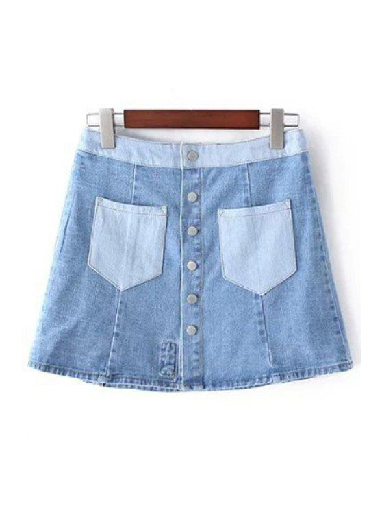 Bolsillos Denim bordado floral de la falda - Azul Claro M