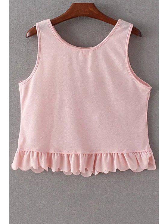 best Ruffles Spliced Round Collar Tank Top - PINK S