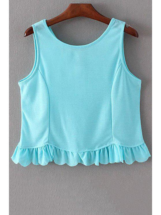 women's Ruffles Spliced Round Collar Tank Top - LIGHT BLUE S