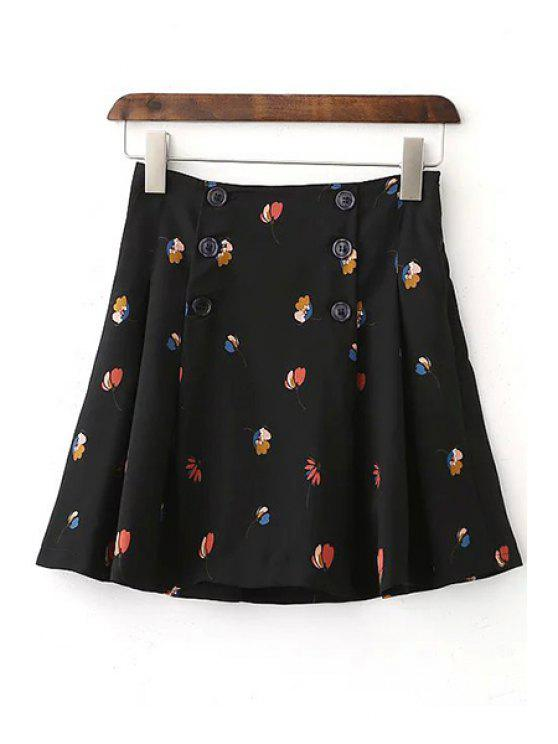 best Floral High Waist Double-Breasted Skirt - BLACK L