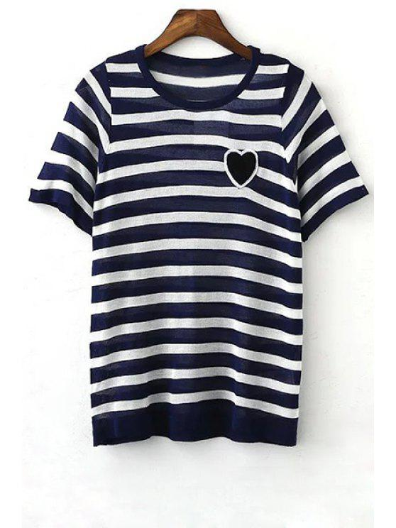 outfits Striped Round Neck Short Sleeve Knit T-Shirt - BLUE L