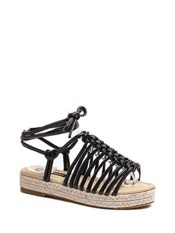 fancy Solid Color Weaving Lace-Up Sandals - BLACK 38