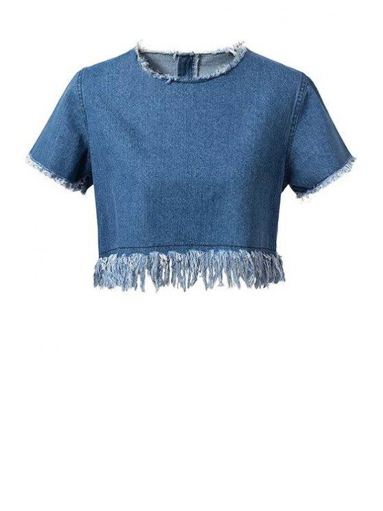 latest Frayed Denim Crop Top - BLUE M