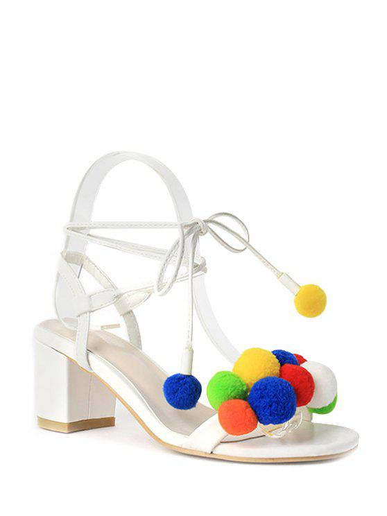 Pompon colorido Lace-Up Sandals Heel Chunky - Branco 36