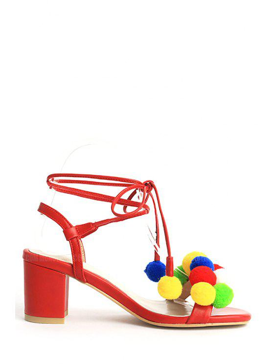 trendy Colorful Pompon Lace-Up Chunky Heel Sandals - RED 39
