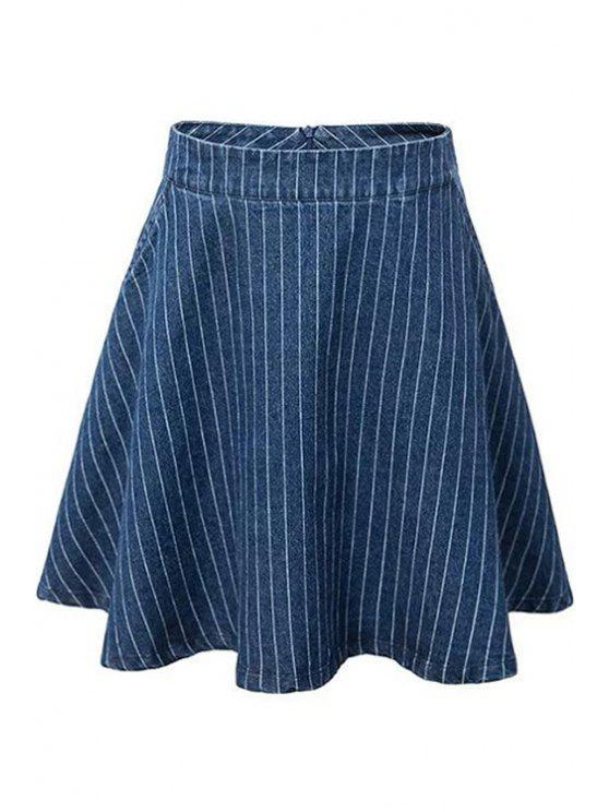Una línea de rayas mini falda - Azul S