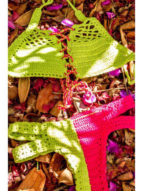 All'uncinetto Halter Lace Up Bikini - Verde chiaro XL