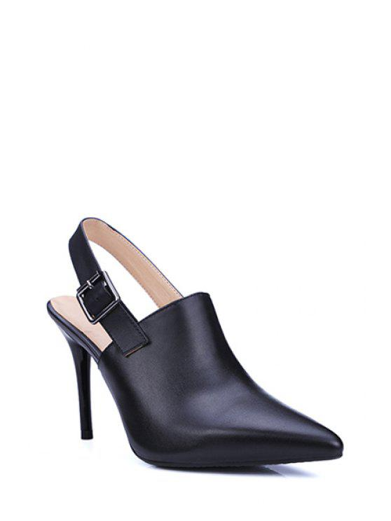 2c779a7e2a 43% OFF] 2019 Slingback Pointed Toe Stiletto Heel Pumps In BLACK | ZAFUL