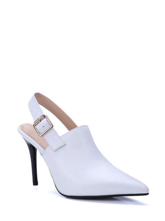 chic Slingback Pointed Toe Stiletto Heel Pumps - WHITE 36