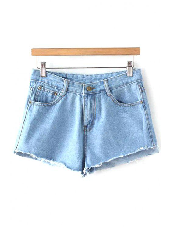 Luminaria de azul medio de la cintura pantalones cortos de mezclilla - Azul Claro L