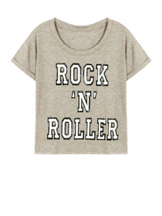 buy Letter Pattern Short Sleeve Round Neck T-Shirt - GRAY L