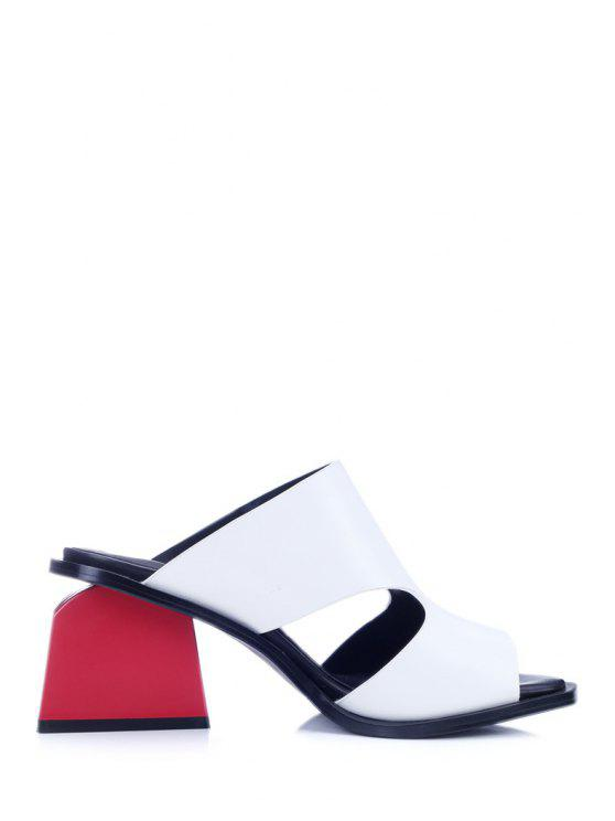 women's Chunky Heel Hollow Out White Slippers - WHITE 38