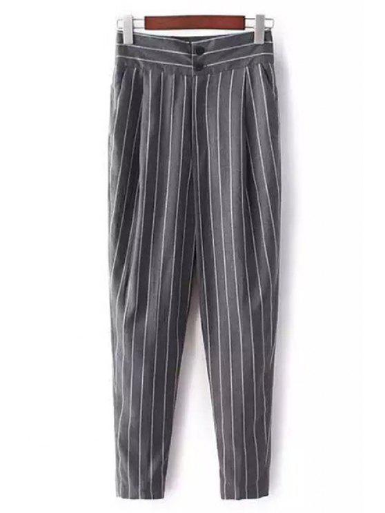 Pantalon à taille haute et à rayues - Gris S