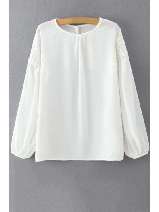 280576c21 28% OFF] 2019 White Lace Spliced Round Neck Lantern Sleeve Blouse In ...