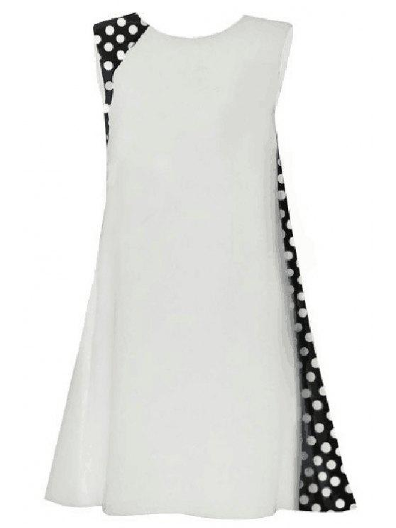 trendy Polka Dot Splicing Round Collar Sleeveless Dress - WHITE L