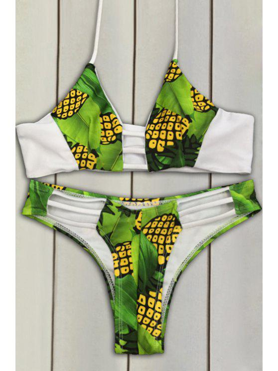 women's Pineapple Print Bikini Set - GREEN S