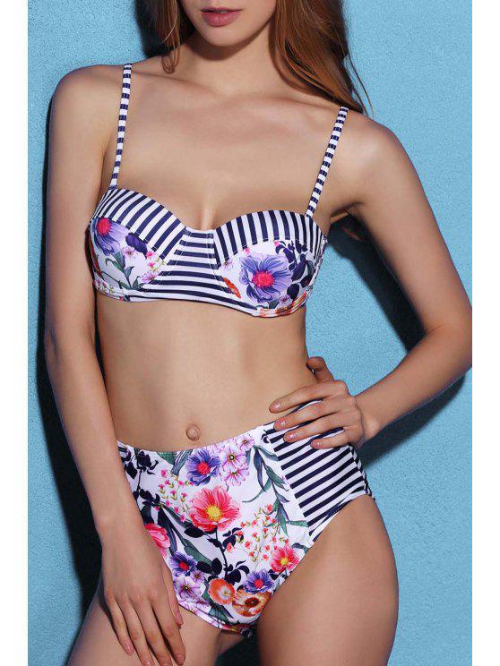 bf62d0e5ea620 23% OFF  2019 Floral Stripe Print High Waist Bikini Set In BLUE AND ...