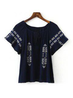 Blusa De Estilo étnico De La Manga Corta De Las Mujeres Del Bordado Embellished - Azul Marino  L