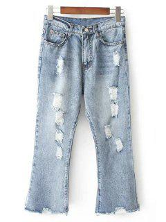 Ripped Bleach Wash High Waist Flared Jeans - Light Blue Xl