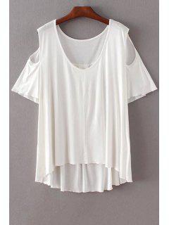 Solid Color Scoop Neck Short Sleeve Cold Shoulder T-Shirt - White L