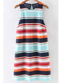 Colorful Striped Round Neck Sleeveless Dress - Blue L