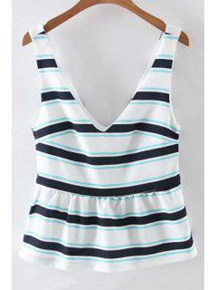 Striped Fitting Plongeant Tank Top Neck - Blanc L