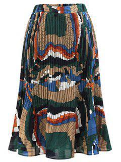 Printed Pleated Chiffon Skirt - Blue 2xl
