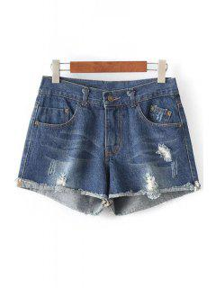 Vintage Broken Hole Denim Shorts - Deep Blue M