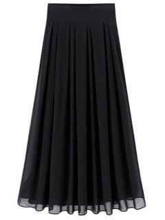 Flared Solid Color Chiffon Skirt - Black 2xl
