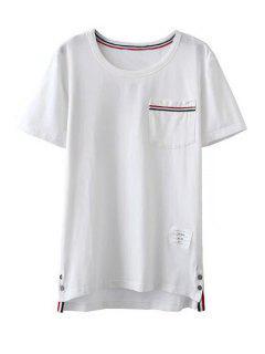 Montaje Del Bolsillo De Cuello Redondo Manga Corta De La Camiseta - Blanco Xl