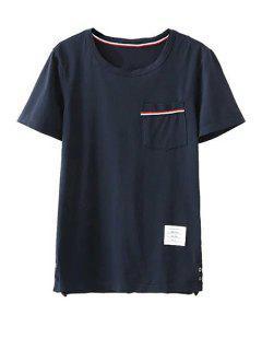 Montaje Del Bolsillo De Cuello Redondo Manga Corta De La Camiseta - Azul Marino  S