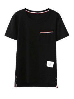 Montaje Del Bolsillo De Cuello Redondo Manga Corta De La Camiseta - Negro L