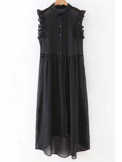 Black Sleeveless See-Through Shirt Dress - Black L