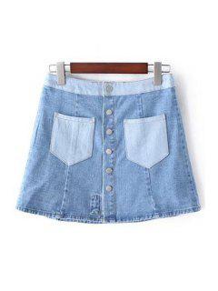 Denim Pockets Floral Embroidery Skirt - Light Blue Xs