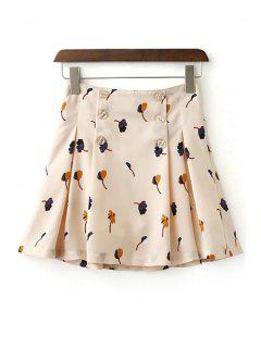 Floral High Waist Double-Breasted Skirt - Beige Xl