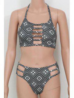 Argyle Imprimer Halter Creux Bikini - Gris Foncé Xl