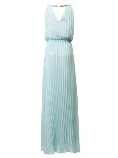 Pleated Maxi Chiffon Dress - Light Blue L