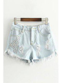 Rivet Embellished Ripped Denim Shorts - Light Blue Xl