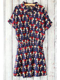 Figure Print Fitting Turn-Down Collar Short Sleeve Dress - Red